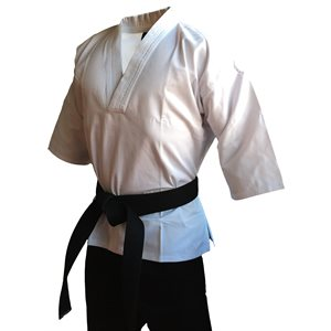 V-Neck 65 / 35 polycotton karate uniform with 3 / 4 sleeves