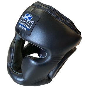 Kharan™ leather full face boxing helmet BLACK SMALL / MEDIUM